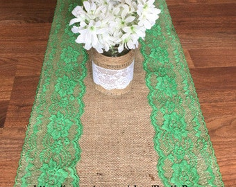 Rustic Wedding Burlap and Emerald Lace Runner size 14 X 72, Rustic wedding, burlap and lace table runner Bridal shower decor parties, events