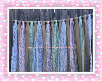 Baby Shower Burlap, Mint Green, Pastel Pink and White Lace Hanging Garland, Rag Tie Backdrop size 4 ft wide across X 3 ft long hanging down