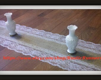 Rustic Charm Wedding Table Decor Country, Spring Rustic Burlap and Lace Table Runner White Lace  12 inches wide X 84 inches long, barn decor
