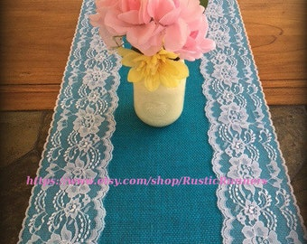 Rustic Charm Wedding Dark Teal Jade Turquoise Aqua Blue Burlap and White lace wedding table runner, Turquoise lace bridal shower party event