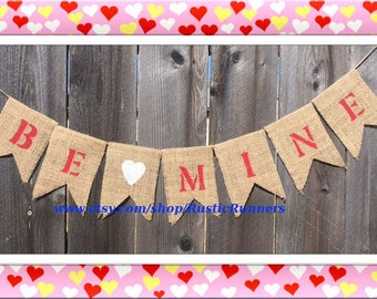 Valentine's Day 'Be Mine' hanging burlap banner, Valentine's Day party banner with Be Mine, Be Mine hanging sign Valentine's Day party decor