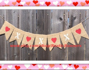 XOXO Valentine's Day hand painted sign Love and Kisses hanging burlap banner Valentine's Day party, hearts & X's Valentine's Day party signs