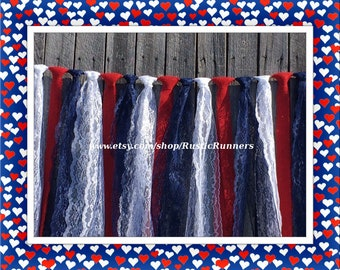 Patriotic Red White and Navy Blue hanging garland, size 4 ft W X 3 ft L, Independence Day, American hanging garland for parties or events