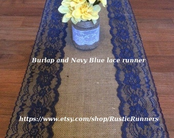 Wedding Rustic Burlap and Navy Blue lace table runner select from various sizes, bridal party, baby shower, parties and events, Navy Wedding