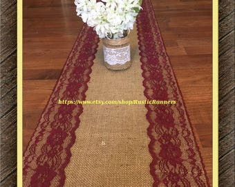 Rustic Wedding Burlap with Burgundy Lace Table Runner-select from various sizes, Shabby Chic runner burgundy lace Bridal party, baby showers