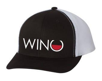 41428d5b0784e Wino Logo Embroidered Retro Trucker Hat - Wine Gifts