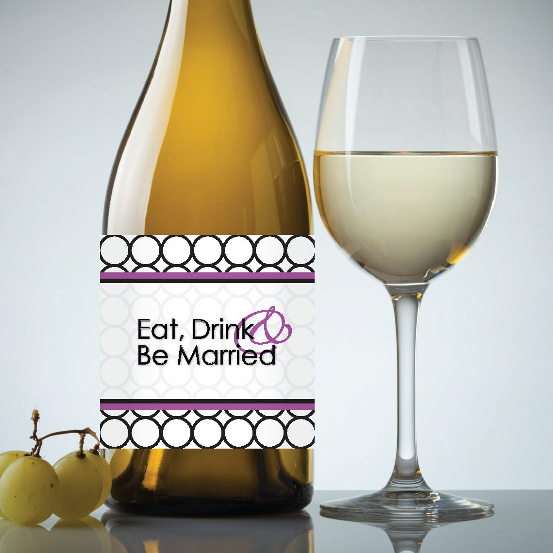 Wedding Engagement Wine Label Pdf: Wedding Eat Drink & Be Married Printable Wedding