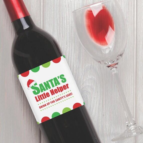 Santa's Little Helper     Holiday Printable Wine Label Wrap - Instant  Download PDF