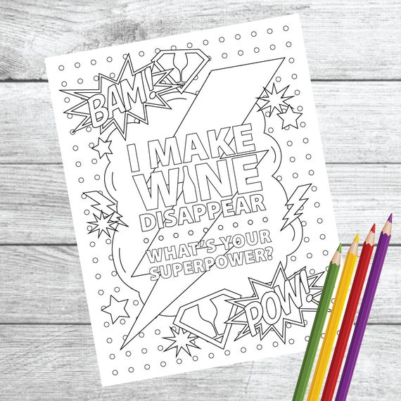 Superpower Wine Wine Therapy Coloring Page Instant Etsy