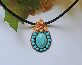 Vintage Czech turquoise matrix glass and Swarovski turquoise crystal copper necklace with black parachute cord N100