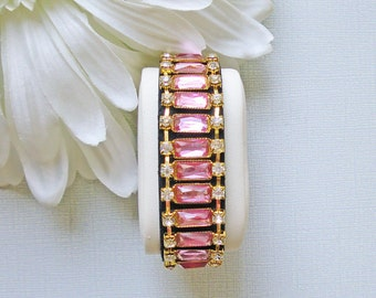 Beautiful soft pink baguette and clear round rhinestone cuff or bangle style black leather snap bracelet for 6.5 to 7 inch wrist B73