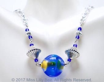 Blue & SIlver Glass Bead Chain Necklace