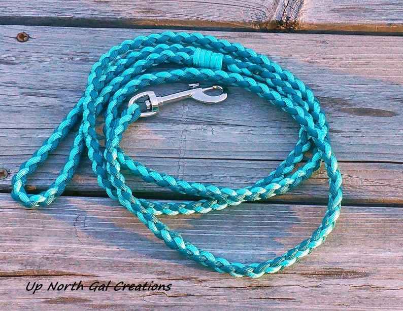 Paracord Dog Leash,550 paracord, Turquoise and a shade Teal, 4 Strand Round  Braid,Custom Dog Leash, Puppy Leash, Michigan Made, Yooper, USA,