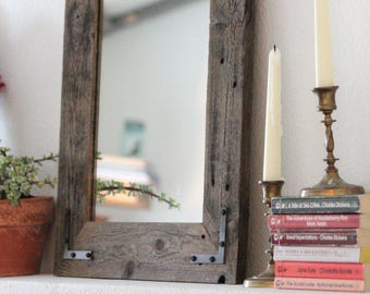 Small Mirror, Small Wood Framed Mirror, Wall Mirror, Reclaimed Wood Framed Mirror, Bathroom Mirror, Rustic Wood Mirror, Rustic Home Decor