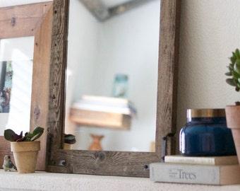 Wood Mirror, Rustic Wall Mirror, Wall Mirror, Small Wall Mirror, Vanity Mirror, Bathroom Mirror, Rustic Mirror, Reclaimed Wood Mirror, Home