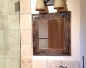 Wood Mirror, Rustic Wall Mirror, Small Wall Mirror, Rustic Mirror, Reclaimed Wood Mirror, Decorative Mirror, Farmhouse Mirror, Small Mirror