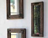 Rustic Mirror Collage, Mirror Collage, Set of Mirrors, Reclaimed Wood Mirrors, Mirrors, Home and Living, Farmhouse Decor, Wood Mirrors, Home