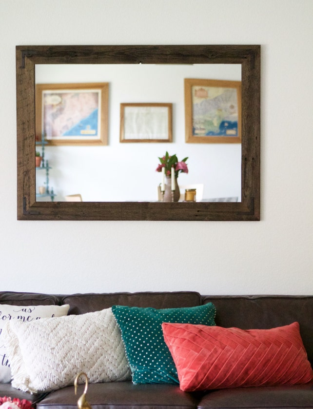 Large Wall Mirror Large Wood Framed Mirror Large Bathroom | Etsy