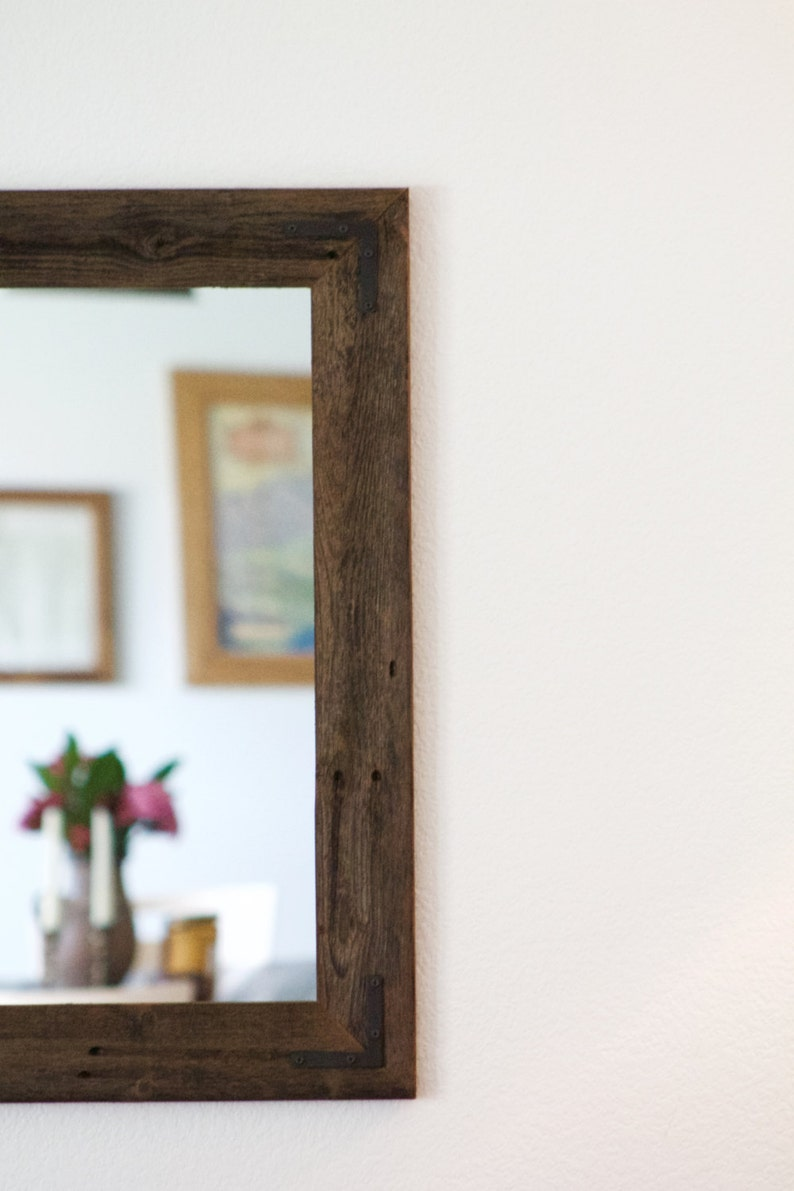 Large Wood Mirror Rustic Wall Mirror Large Wall Mirror image 0