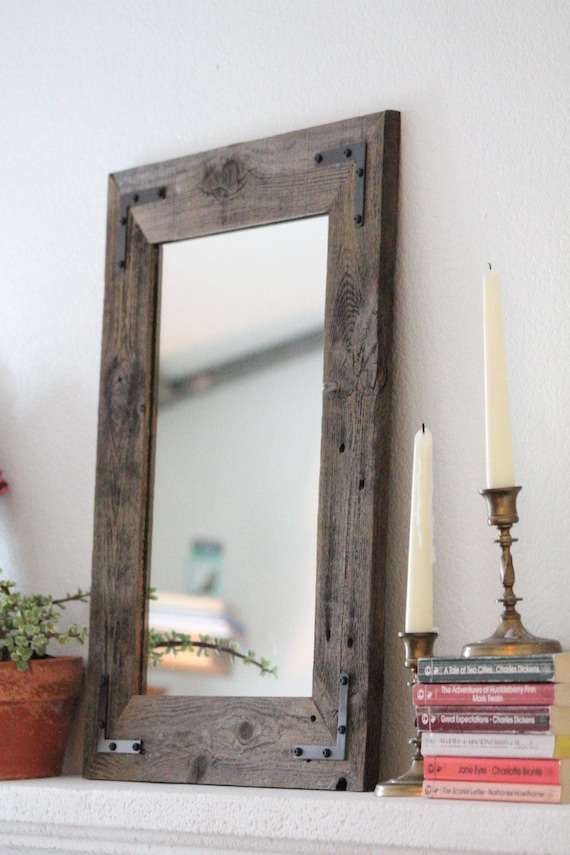 Small Mirror Small Wood Framed Mirror Wall Mirror Reclaimed