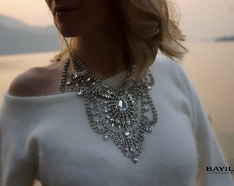 ULTIMATE SALE Madame Bovary - Stunning Crystal Clear Swarovski Crystals Wedding Necklace, Statement Necklace - Ready to Ship