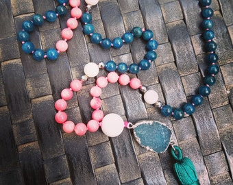 Open mind kynite and pink and white coral mala necklace with druzy agate