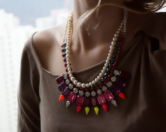 ULTIMATE SALE - Carmen - Fusion of colours - Swarovski Crystals Statement Necklace, Neon Summer Necklace - Ready to Ship