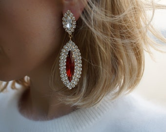 SALE Jaqueline - Burgundy Swarovski Crystal Statement Earrings, Wedding Earrings - Ready to Ship