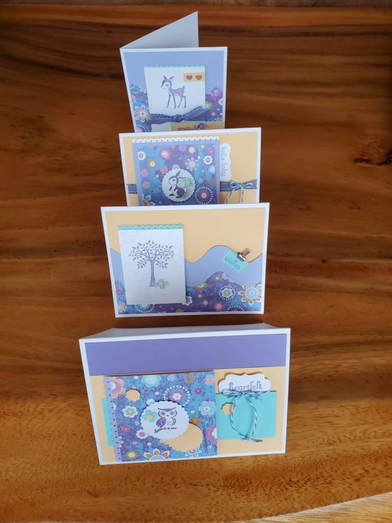 Forest Friends in apricot lilac /& lavender-pk of 4