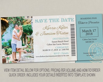 boarding pass ticket wedding save the date wedding reception etsy