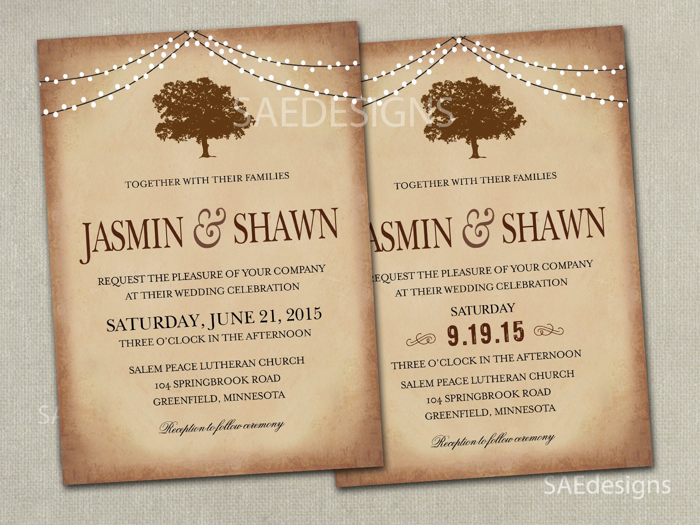 Elopement Wedding Invitations: Fall Tree Wedding Invitation Invitations Invites Elopement