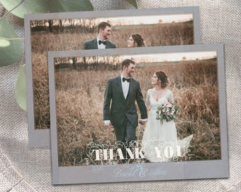 Rustic Wedding Thank You Photo Postcards Cards Notes Magnets rustic vintage thank you postcards vintage shabby chic old photo fade grey