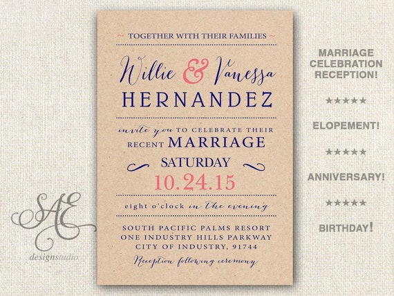 Rustic Wedding Reception Invitations Invite We Eloped Card Modern Casual Rustic Navy Coral Red Blue Mint Grey Bbq We Do Anniversary
