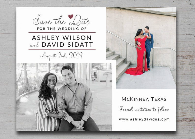 Wedding 3 Three 2 two Photo Save the Dates Magnets Cards Modern Calendar Navy Coral Blush Mint Pink Peach Purple Grey Burgundy Gold Green