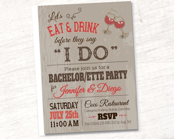 Rustic Wedding Invitations Couples Bachelor Bachelorette Party