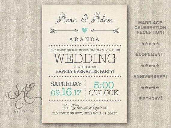 Elopement Wedding Invitations: Wedding Elopement Reception Invitations Invite Anniver
