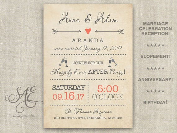 Wedding Invite Elopement Reception Invitations Invite Anniversary Card Happily Ever After Rustic Bbq We Do Winery Brewery Navy Pink Western