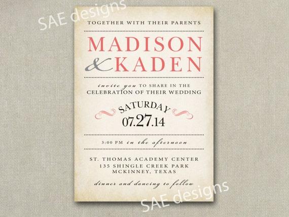 Coral Pink Mint Grey Wedding Invitation Invitations Invites Etsy