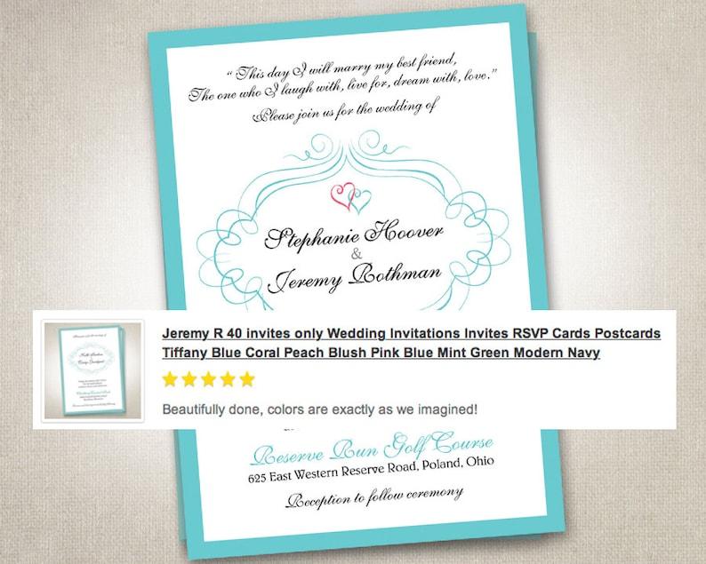 Wedding Invitations Invites Rsvp Cards Postcards Mint Blue Etsy