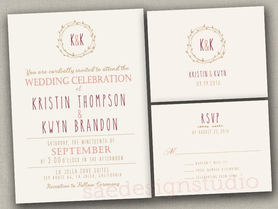 Wedding Invitations With RSVP Cards Wreath Navy Coral Burgundy Rose Purple Maroon Pink Blush Gold Ivory Beautiful Shimmer Stock Available