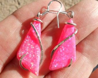 Pink Fire Opal Silver Wrapped Earrings