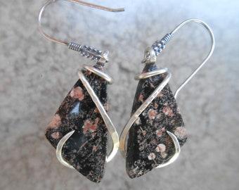 Snowflake Obsidian Silver Wrapped Earrings
