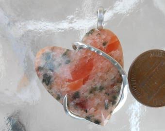 Peach Adventurine Heart Silver Wrapped Pendant