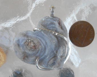 chalcedony Rose Heart Silver Wrapped Pendant