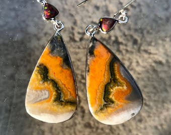 NICE Bumble Bee Jasper Silver Wrapped Earrings