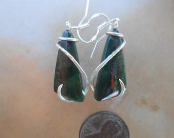 Mahogany Obsidian Silver Wrapped Earrings