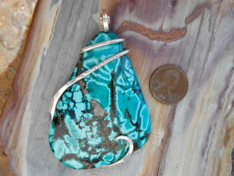 TERRIFIC Hubei Turquoise  Silver Wrapped Pendant