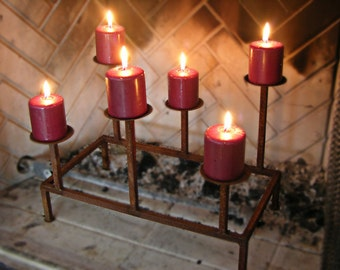 metal candle holder for fireplace or tabletop centerpiece