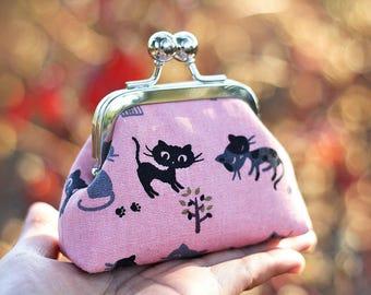 Metal frame coin purse, Cat coin purse, Japanese fabric