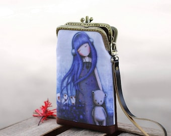 Wristlet phone case two compartment, Linen fabric little blue girl.